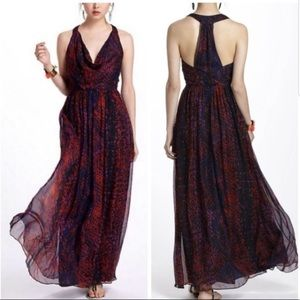 Anthropologie HD in Paris silk formal maxi dress